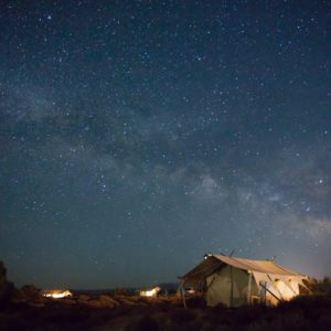 Starry sky and small white tent