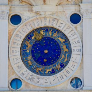 Blue and gold decorative round chart showing 12 zodiac symbols