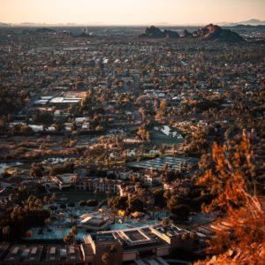 Desert city, seen from a hill