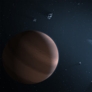 Illustration of a planet and a glowing star